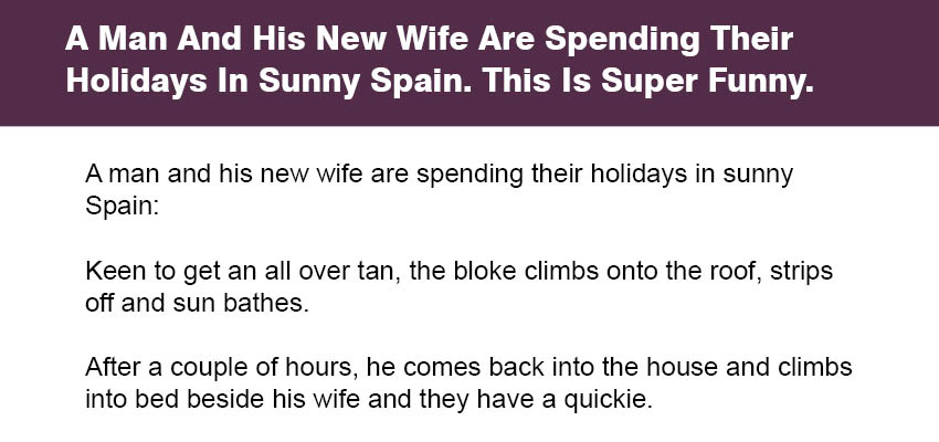 A Man And His New Wife Are Spending Their Holidays In